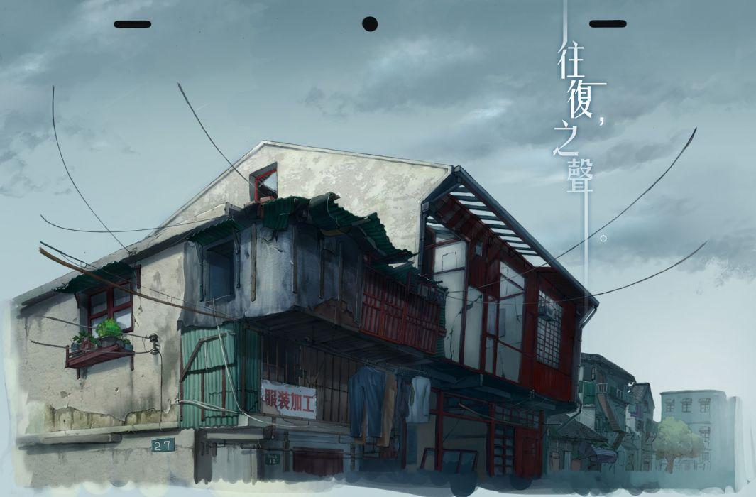 Konachan com - 237918 building clouds mugon nobody original ruins sky stairs tree wallpaper