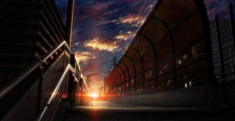 Konachan com - 237907 building city clouds nobody original scenic sky stairs stars sunset tokuninashi (uorat) wallpaper