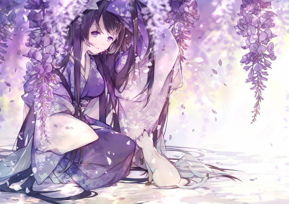 Konachan com - 237994 animal cat flowers japanese clothes kimono miyuki (hananooni) original purple wallpaper