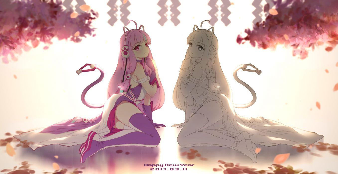 Konachan com - 238005 300 heroes animal ears cangkong catgirl cherry blossoms headphones jpeg artifacts long hair petals pink eyes pink hair sketch tail thighhighs wallpaper