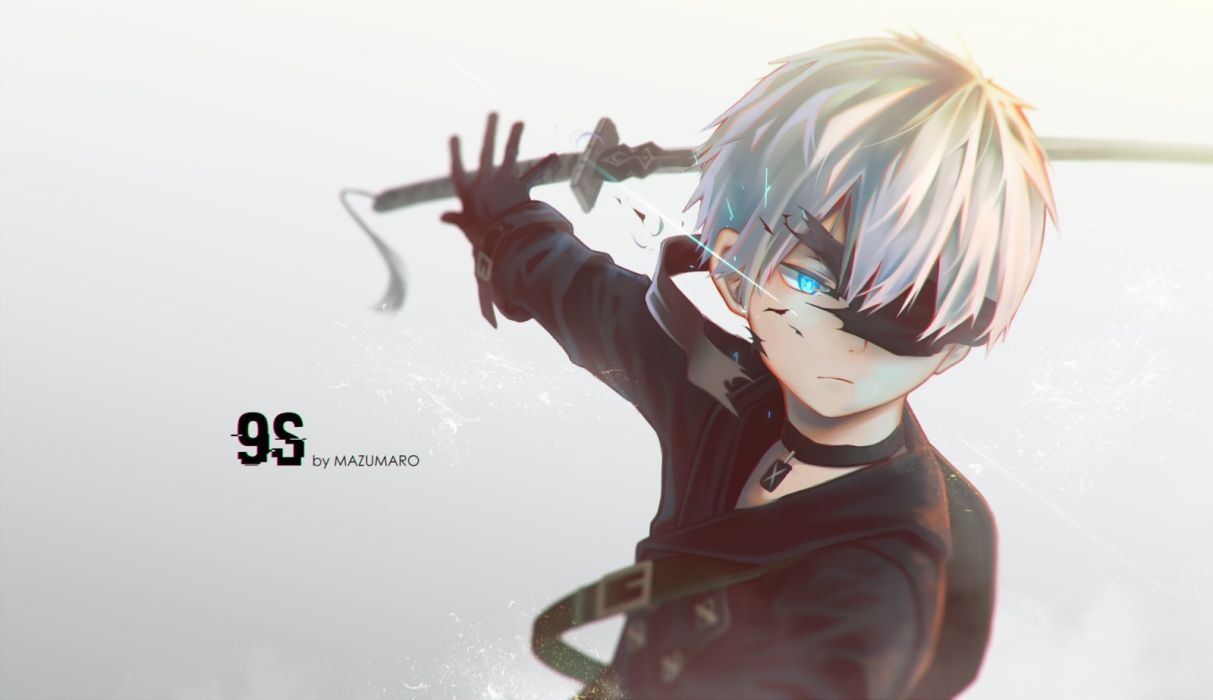 Konachan com - 238012 all male aqua eyes gloves gray gray hair katana male mazumaro necklace nier nier automata short hair sword weapon yorha unit no 9 type s wallpaper