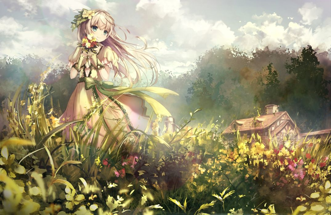 Konachan com - 238052 apple228 aqua eyes blonde hair clouds flowers long hair original petals sky wallpaper
