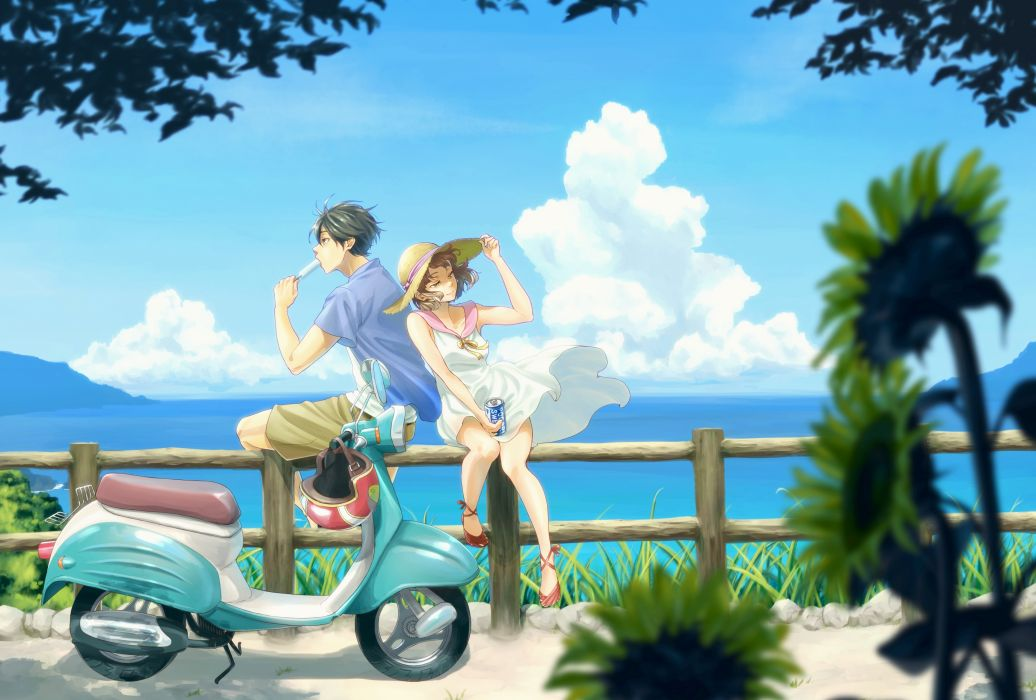 Konachan com - 238083 chama kou clouds dress drink hat motorcycle original popsicle scenic summer dress water wallpaper