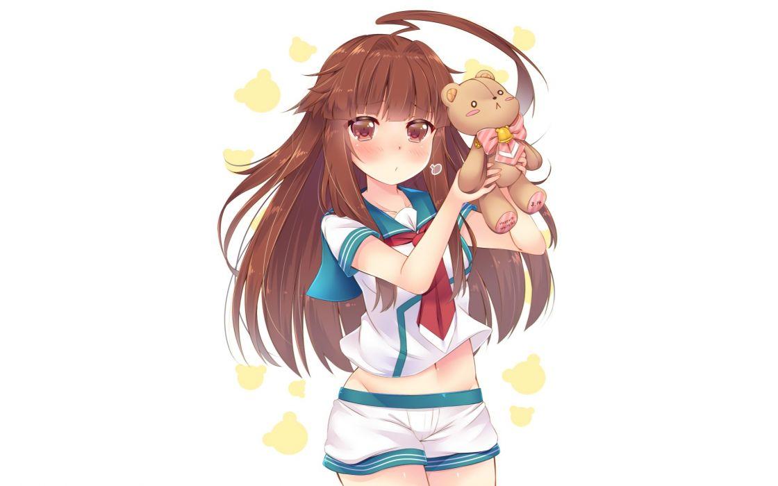 Konachan com - 238124 anthropomorphism blush brown eyes brown hair kantai collection kuma (kancolle) long hair navel seifuku shorts tagme (artist) teddy bear white wallpaper