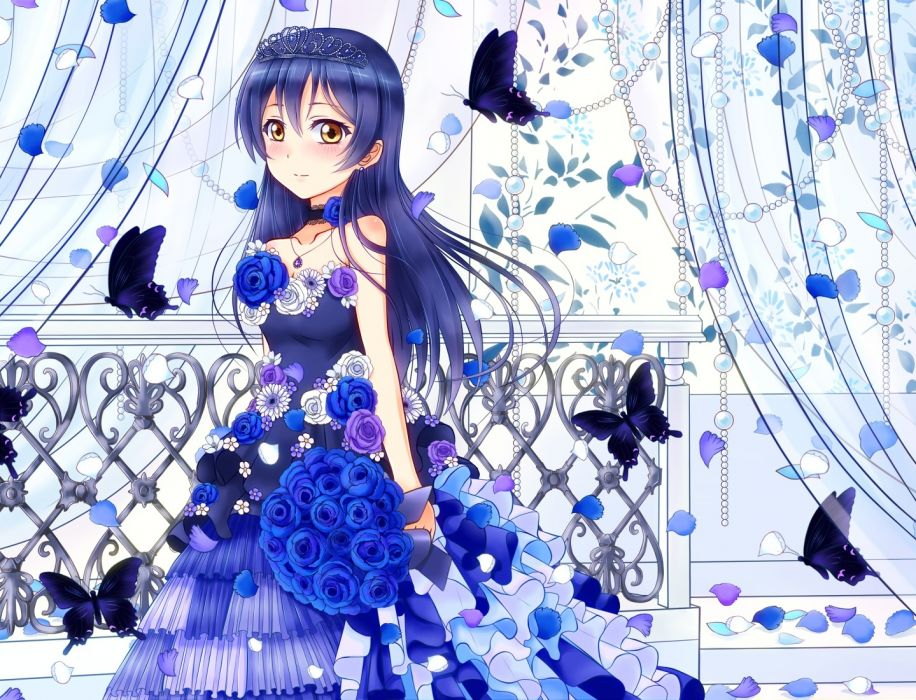 Konachan com - 238210 blue blue hair blush brown eyes butterfly dress flowers headdress hiro9779 long hair love live! school idol project necklace petals sonoda umi wallpaper