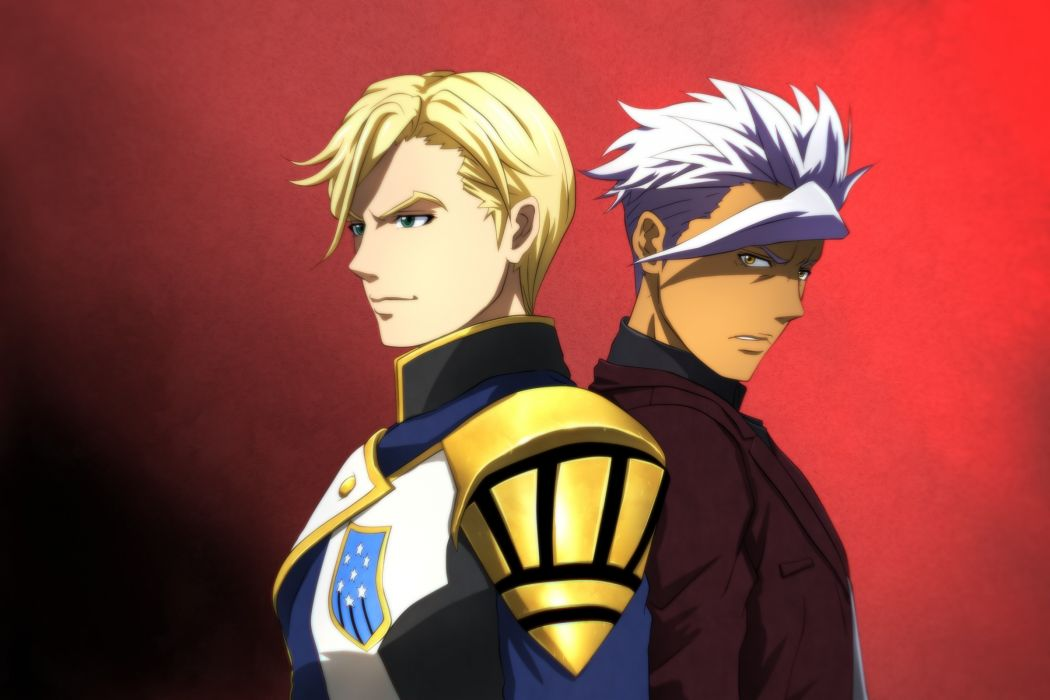 Konachan com - 238222 all male blonde hair dark skin genya67 green eyes male mcgillis fareed mobile suit gundam orga itsuka short hair white hair yellow eyes wallpaper