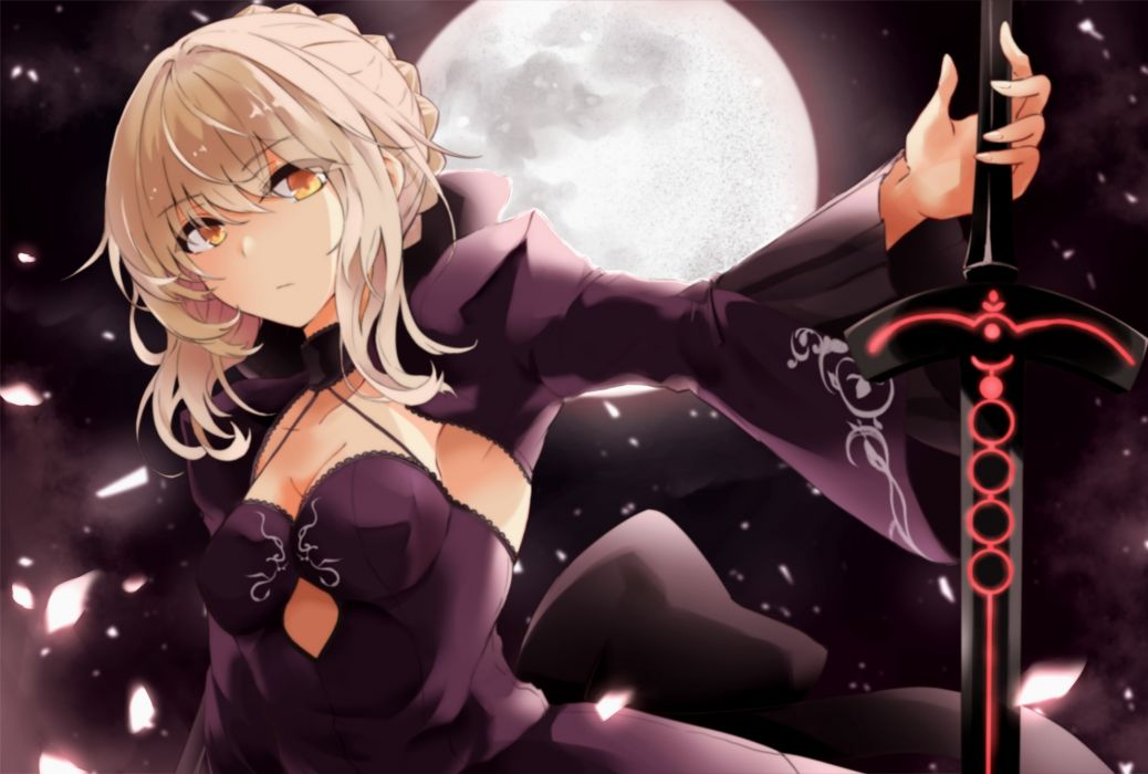 Konachan com - 238251 blonde hair breasts dark fate grand order fate (series) fuu (fuore) moon petals saber saber alter short hair sword weapon yellow eyes wallpaper