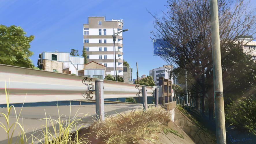 Konachan com - 238221 building city grass original realistic scenic signed sky tagme (artist) tree wallpaper