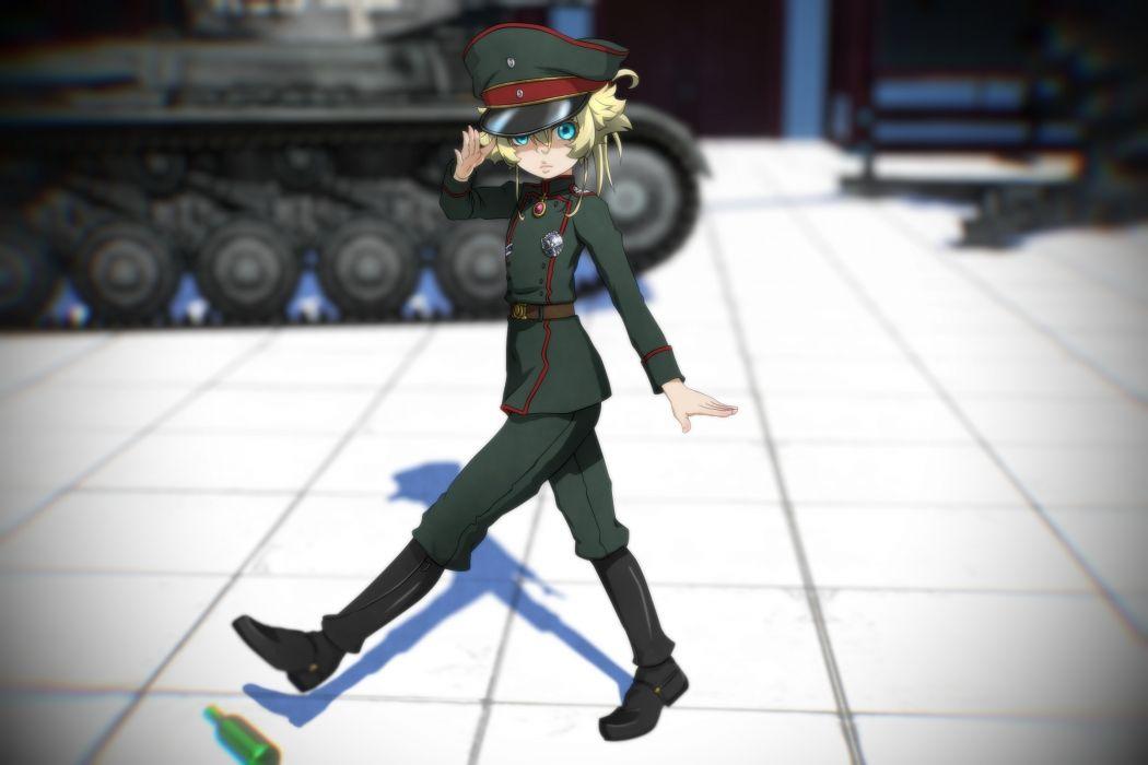 Konachan com - 238328 3d aqua eyes blonde hair genya67 hat loli military short hair tanya degurechaff uniform youjo senki wallpaper