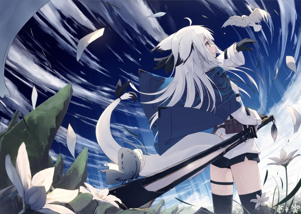 Konachan com - 238364 animal bird brown eyes butterfly clouds flowers foxgirl gloves long hair original petals shorts sky sword tail thighhighs weapon white hair wallpaper