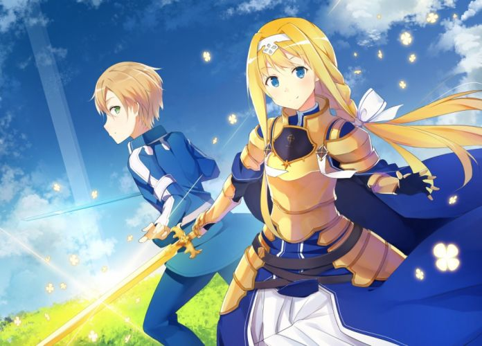 Konachan com - 238366 com alice schuberg armor blonde hair blue eyes braids clouds dress eugeo gloves green eyes long hair male short hair sky sword weapon wallpaper