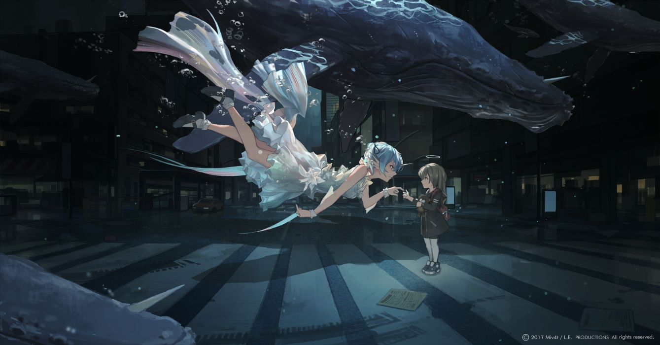 Konachan com - 238367 animal aqua eyes aqua hair bubbles building city dress fish horns loli long hair mivit original seifuku teddy bear underwater water watermark wallpaper