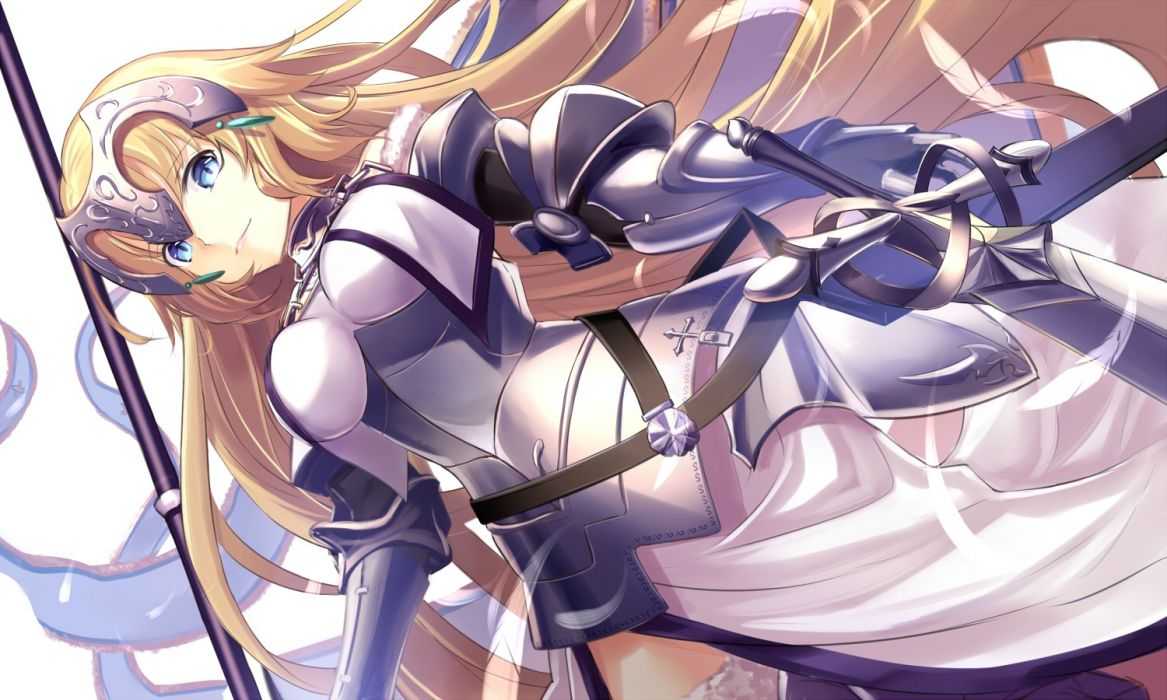 Konachan com - 238423 aqua eyes armor blonde hair breasts dress fate grand order fate (series) headdress jeanne d'arc (fate) long hair renka (renkas) sword weapon wallpaper