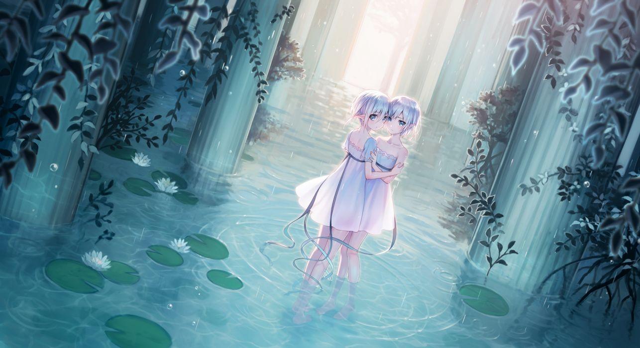 Konachan com - 238474 2girls blue eyes dress gray hair megumu original pointed ears rain ribbons short hair summer dress twins waifu2x water wallpaper