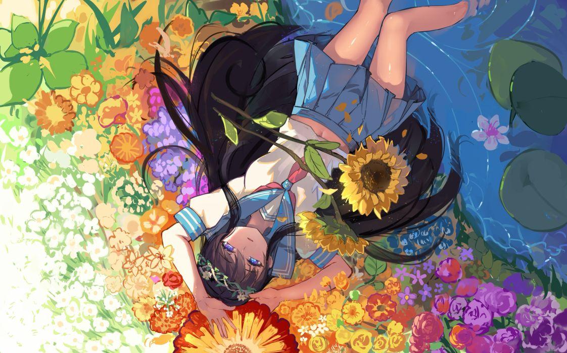 Konachan com - 238476 aqua eyes black hair flowers haraguroi you long hair navel original petals seifuku skirt sunflower water wallpaper