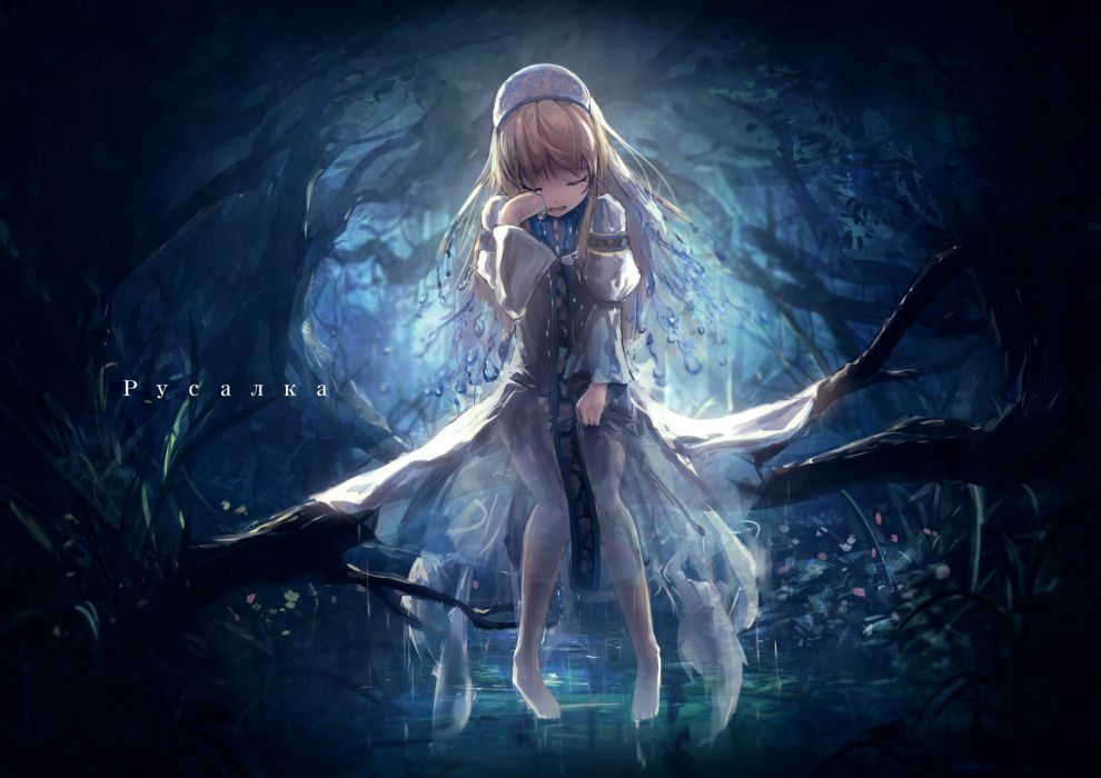 Konachan com - 238455 apple228 barefoot blonde hair crying dark long hair original see through tears water wallpaper