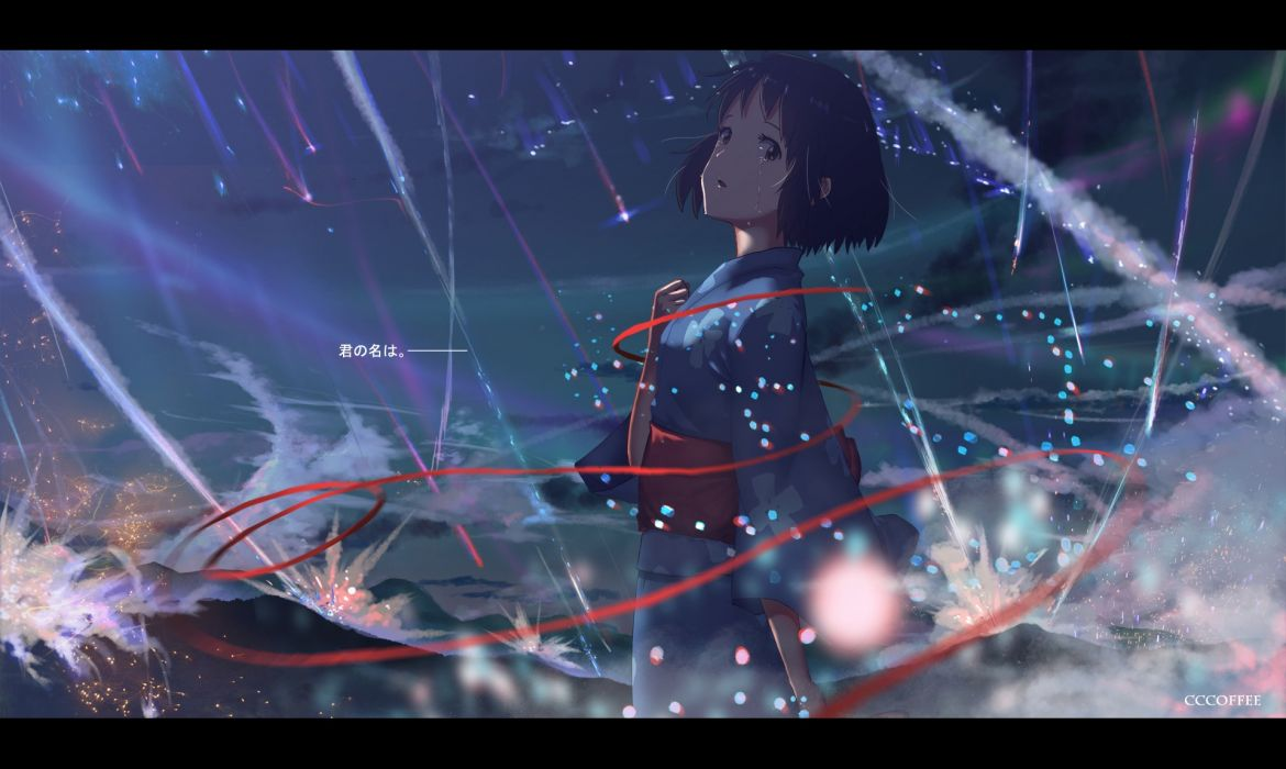 Konachan com - 238493 black hair brown eyes japanese clothes kimi no na wa leng sediao kafei miyamizu mitsuha ribbons short hair sky stars tears yukata wallpaper