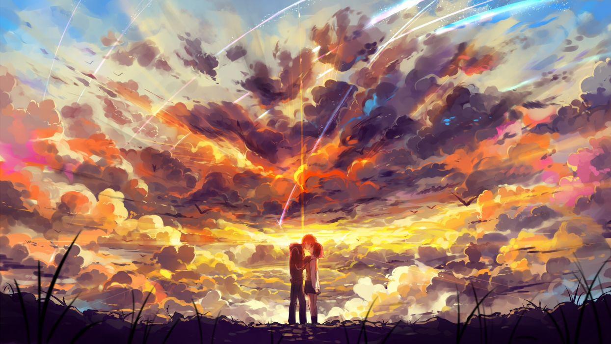Konachan com - 238495 clouds haraguroi you kimi no na wa kiss kneehighs male miyamizu mitsuha short hair skirt sky stars tachibana taki wallpaper
