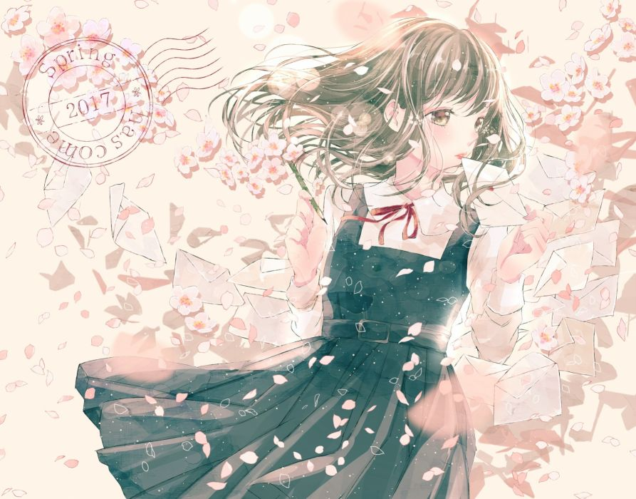 Konachan com - 238510 black hair brown eyes dress flowers long hair original petals ruru (tsuitta) wallpaper
