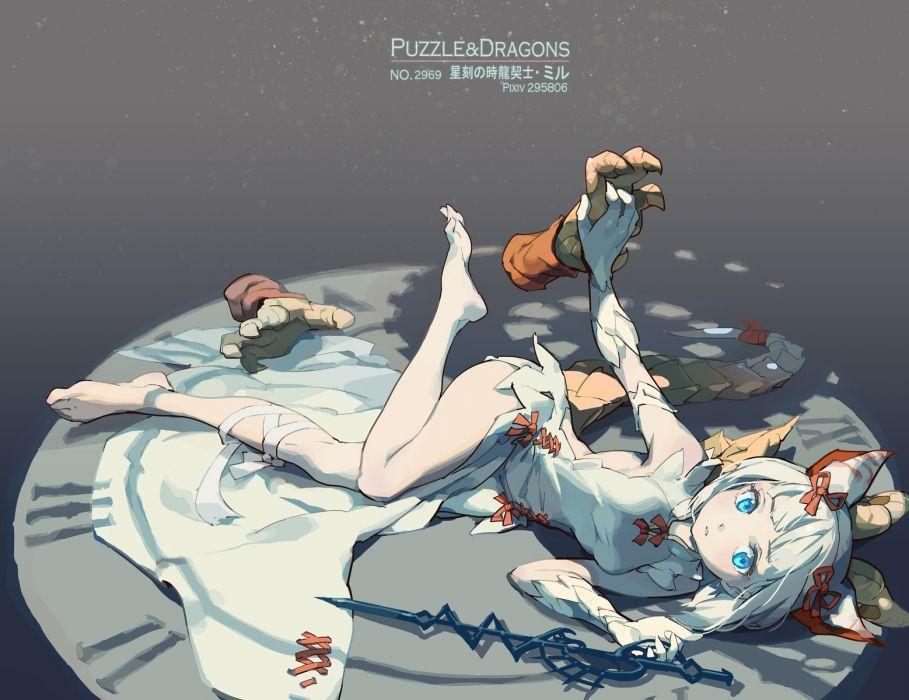Konachan com - 238548 animal ears barefoot blue eyes myr (p&d) puzzle & dragons tennohi white hair wallpaper