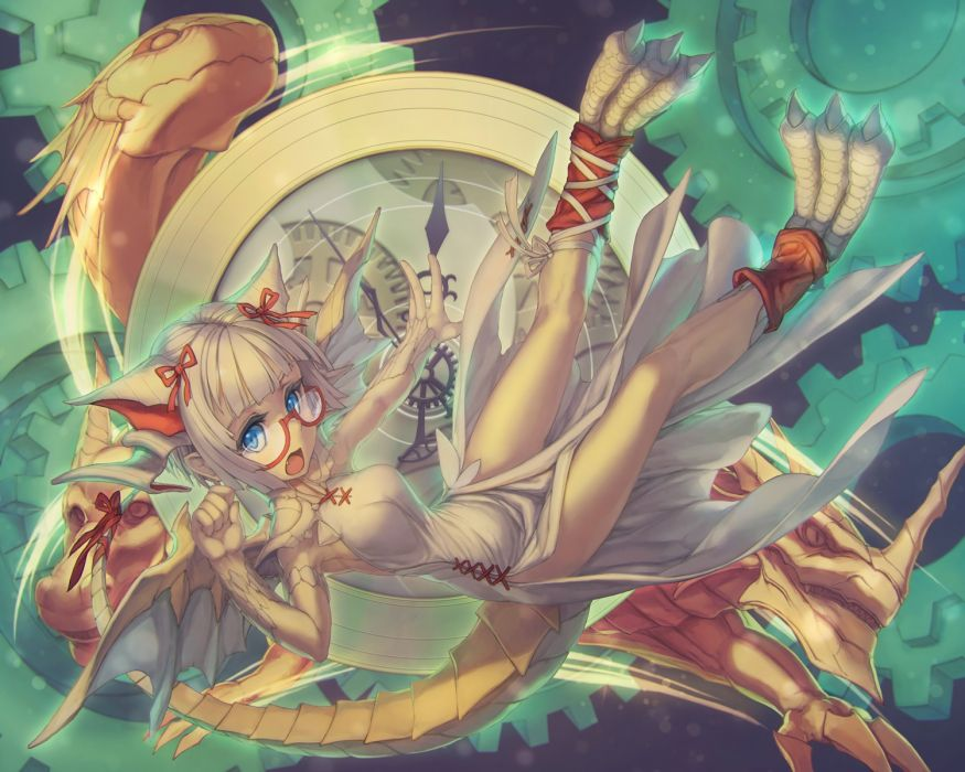 Konachan com - 238549 animal ears glasses myr (p&d) puzzle & dragons rotix white hair wallpaper