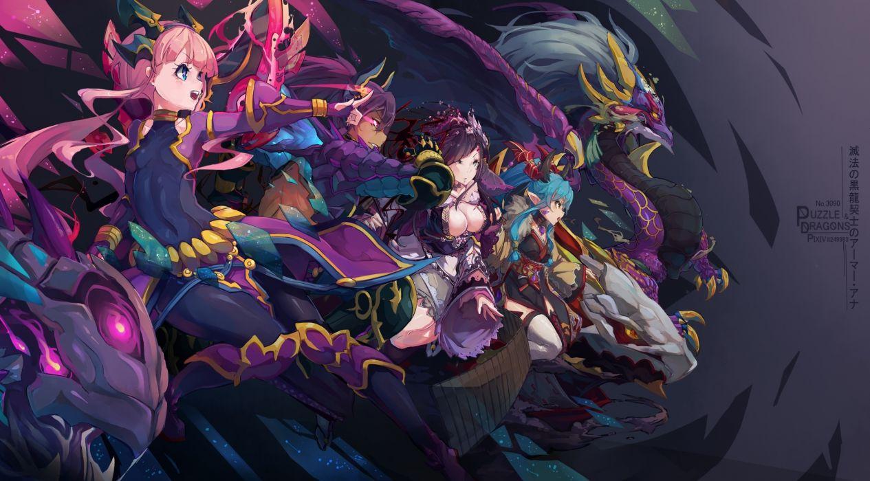 Konachan com - 238558 ana (p&d) kurokitsune puzzle & dragons satsuki (p&d) typhon (p&d) xin hua (p&d) wallpaper