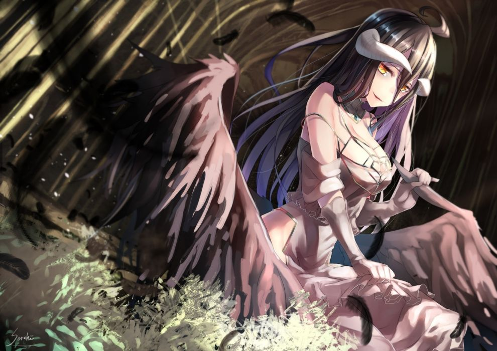 Konachan com - 238631 albedo black hair breasts cleavage dress feathers gloves horns long hair overlord saraki signed wings yellow eyes wallpaper