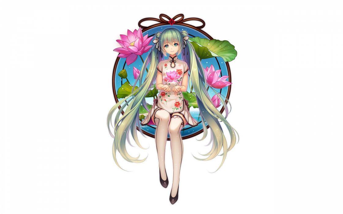 Konachan com - 238633 aqua eyes aqua hair chinese clothes chinese dress flowers hatsune miku long hair thighhighs tidsean twintails vocaloid white wallpaper