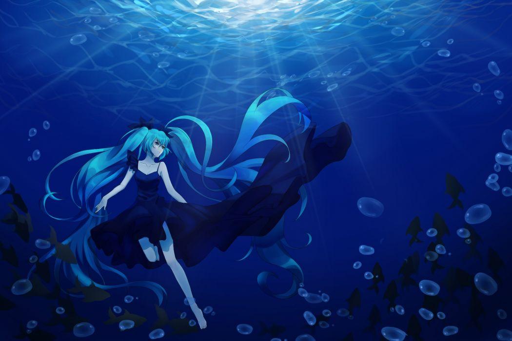 Konachan com - 238642 aqua eyes aqua hair deep-sea girl (vocaloid) hatsune miku long hair tagme (artist) twintails underwater vocaloid water wallpaper