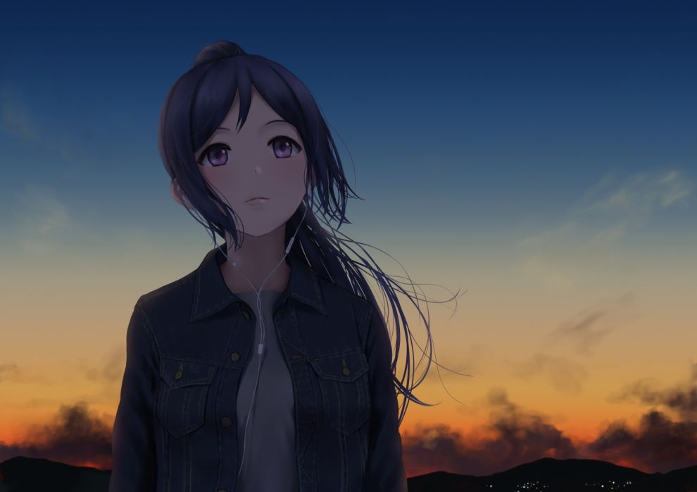 Konachan com - 238728 blue hair clouds dark headphones long hair love live! sunshine!! matsuura kanan papi (papiron100) purple eyes sky sunset wallpaper