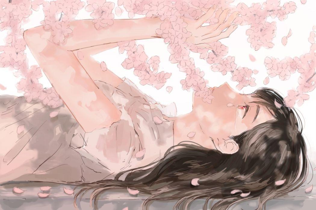 Konachan com - 238745 black hair hinao (flowerrabbit2348) long hair original petals pink eyes tears wallpaper
