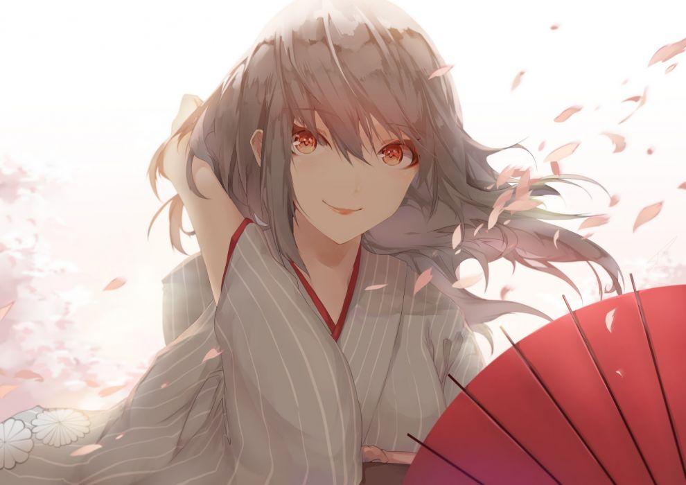 Konachan com - 238809 brown eyes gray hair japanese clothes long hair original petals saihate umbrella wallpaper
