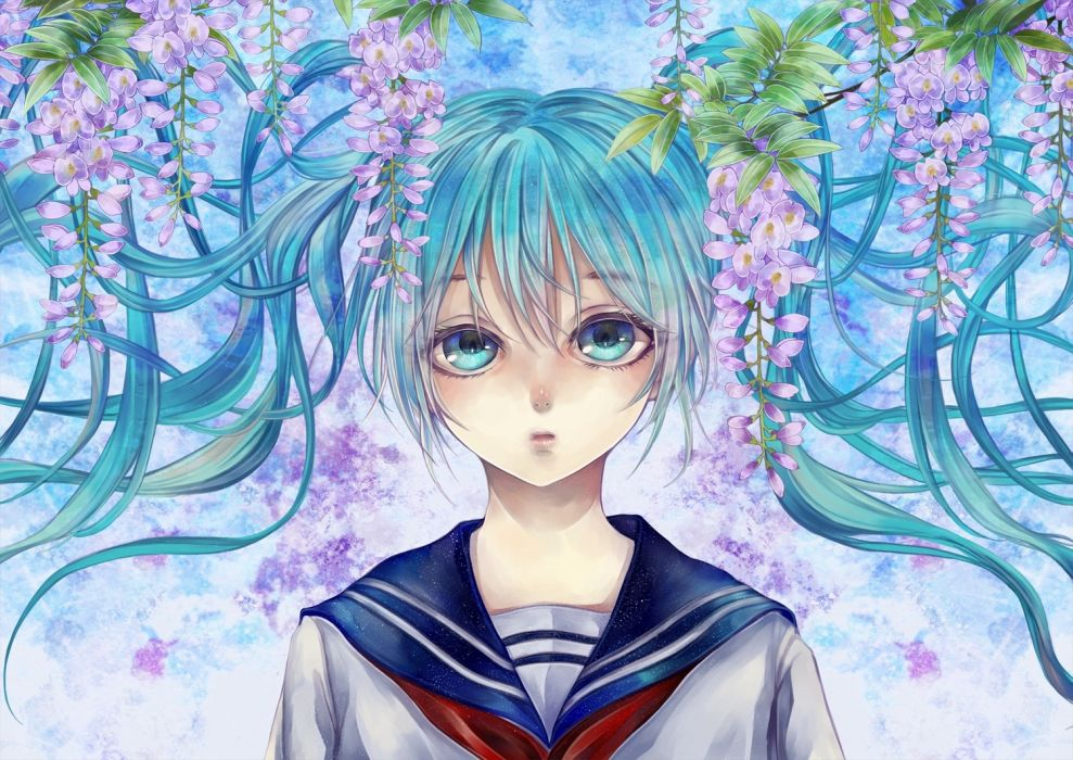 Konachan com - 238811 aqua eyes aqua hair blacksio flowers hatsune miku long hair seifuku twintails vocaloid wallpaper