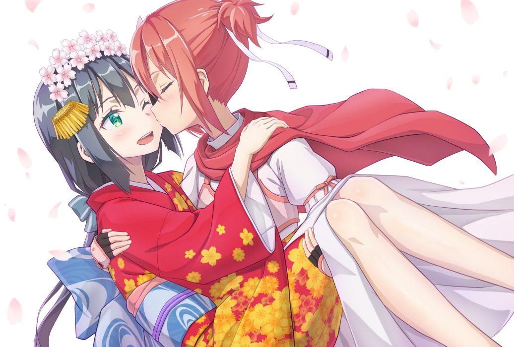 Konachan com - 238834 2girls black hair blush cape flowers gloves green eyes kiss long hair okutagon petals red hair ribbons short hair shoujo ai wink yuuki yuuna wallpaper