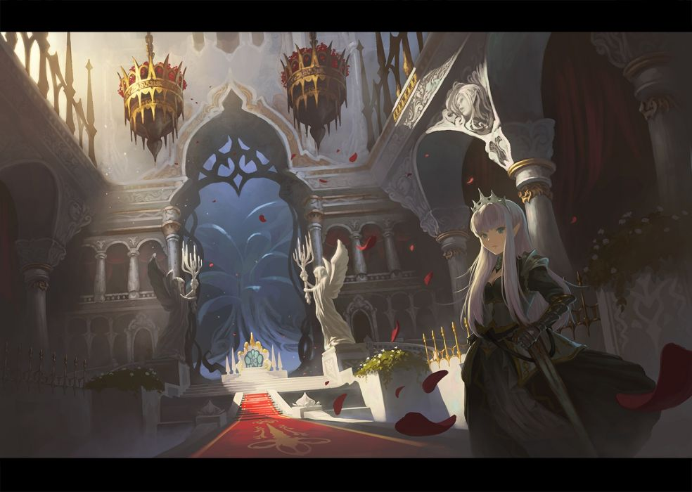 Konachan com - 238893 armor dress gloves gray hair long hair nauimusuka original petals stairs sword weapon wallpaper