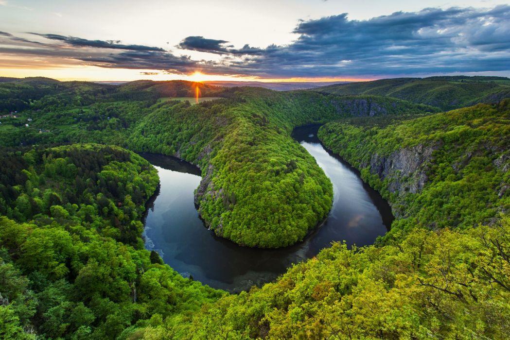 Vltava River Czech Republic naturaleza meandro wallpaper