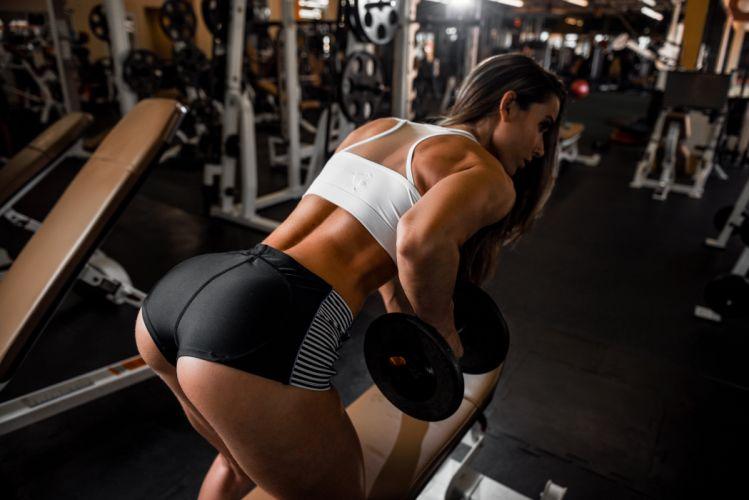 Sport sensuality sensual sexy girl woman model body fitness workout sportswear Dani Dikeman gym dumbbells shorts sweat sweaty wallpaper