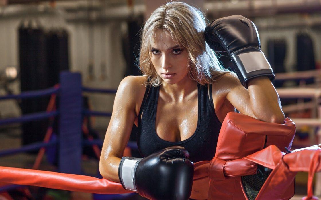 Sport sensuality sensual sexy girl woman model body fitness workout sportswear Nastya-Ferz gym boxing sweat sweaty gloves ring wallpaper