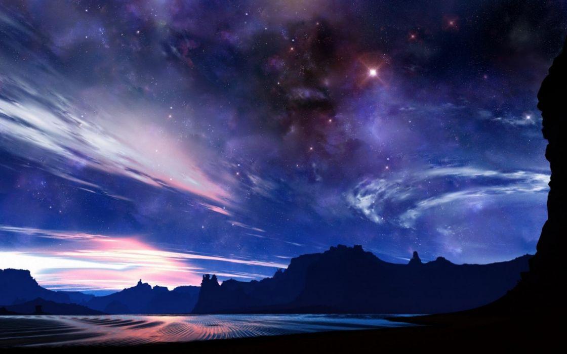 cielo estrellas nubes naturaleza wallpaper