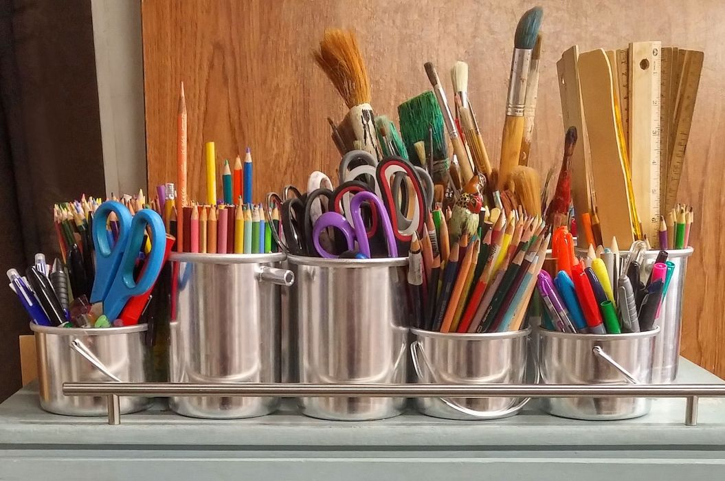 art supplies arts and crafts ballpens brushes bucket chrome color pencils colored pencils colorful colour pencils colourful markers metallic paint brushes pencils pens rulers school supplies scissors silver wood wooden wallpaper