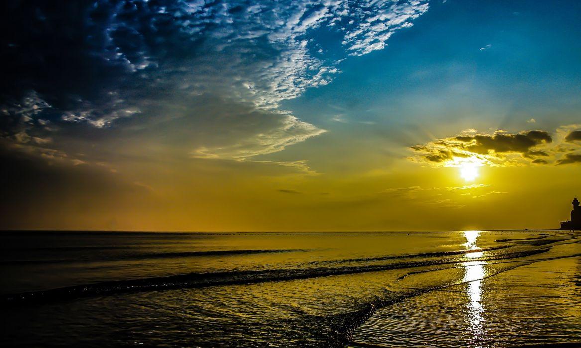 puesta sol playa naturaleza wallpaper