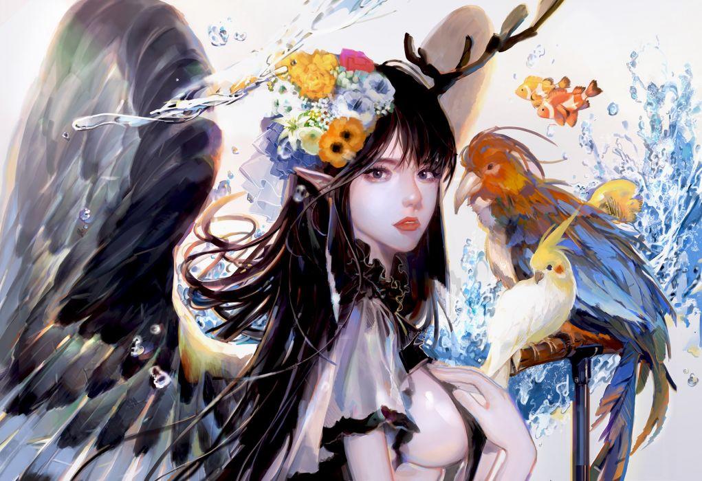 seo-yeon fantasy girl woman beautiful long hair blue eyes original artstation wallpaper