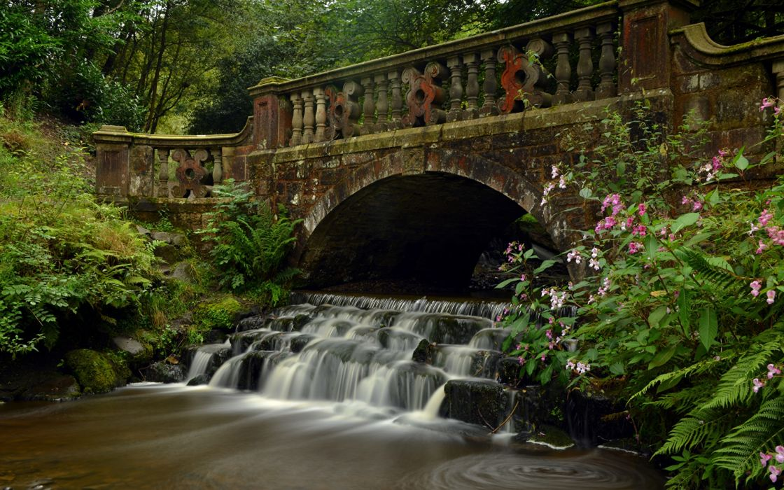 cascada puente inglaterra wallpaper