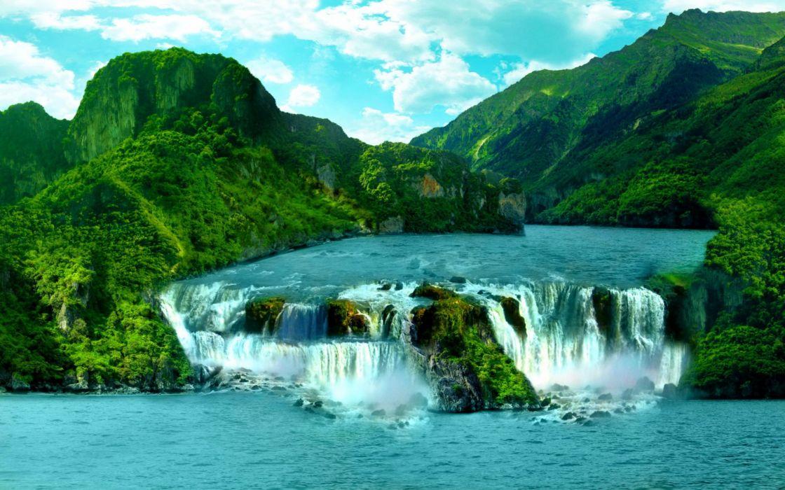 tropical cascada rio arboles montay wallpaper