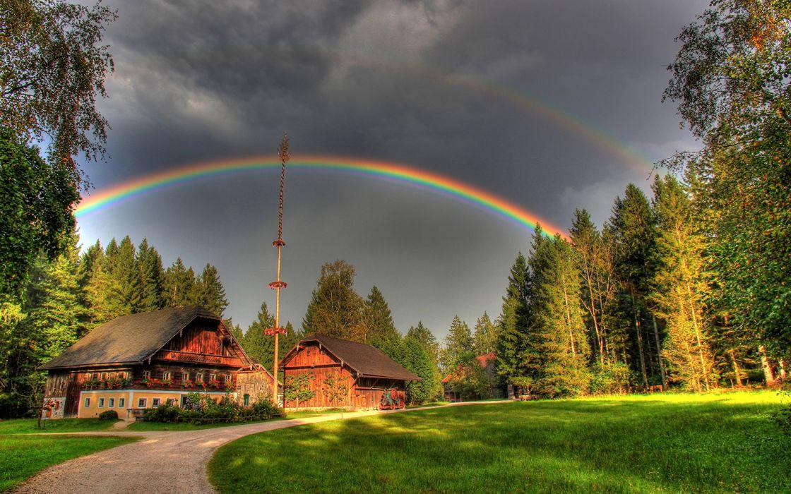 arco iris casa bosque naturaleza wallpaper