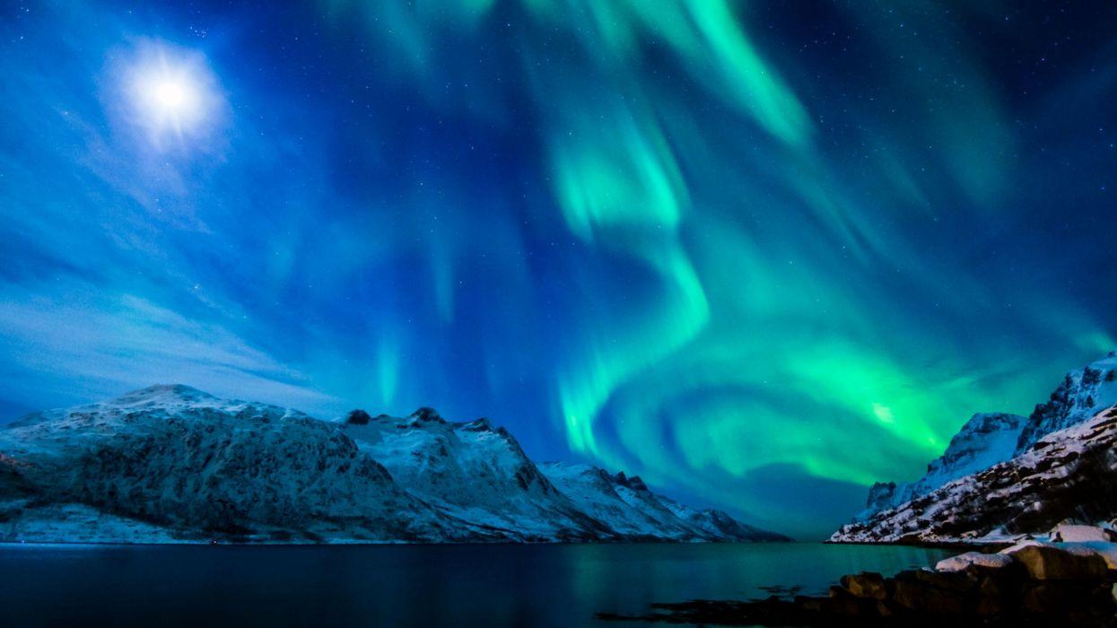 aurora boreal artico hielo naturaleza wallpaper