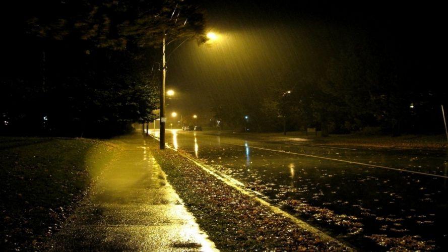 naturaleza lluvias noche farol wallpaper
