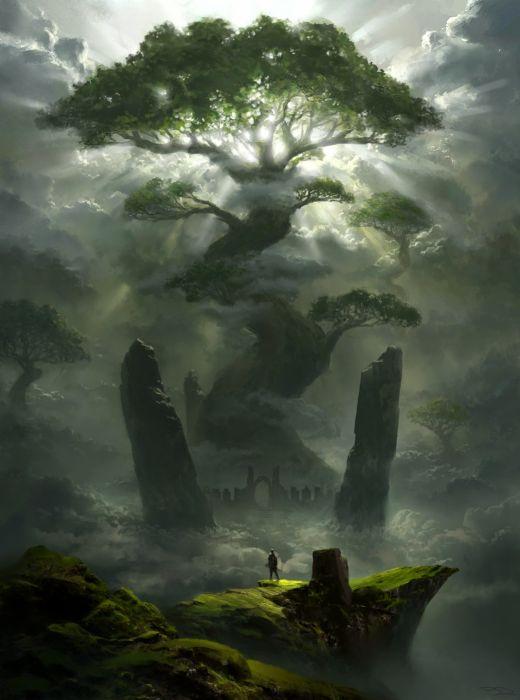 tree fantasy Art artstation artist concept Art PiotrDura wallpaper