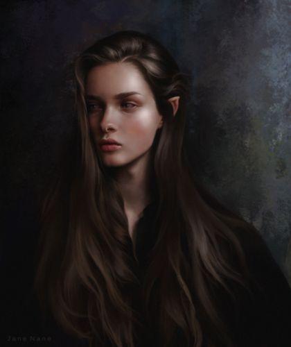 elf fantasy Art artstation woman JaneNane artist Illustration beautiful woman wallpaper