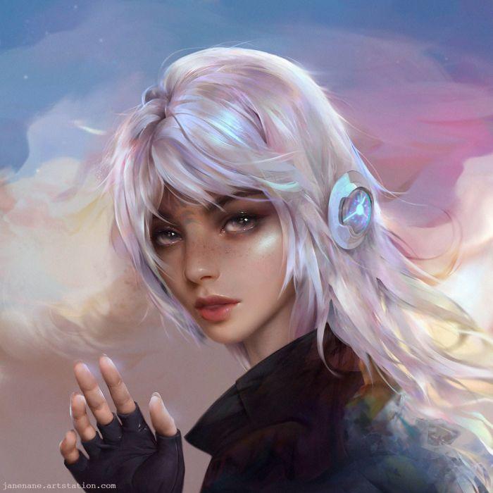 white hair fantasy Art artstation woman JaneNane artist Illustration beautiful woman wallpaper